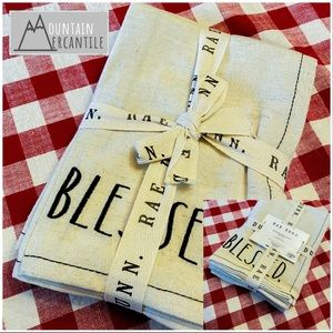 NEW Rae Dun BLESSED- Embroidered Napkins-set of 4